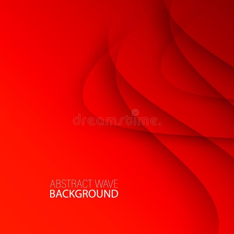 Fondo rojo del extracto de la plantilla del vector con las líneas y la sombra de las curvas Para el aviador, el folleto, el folle ilustración del vector