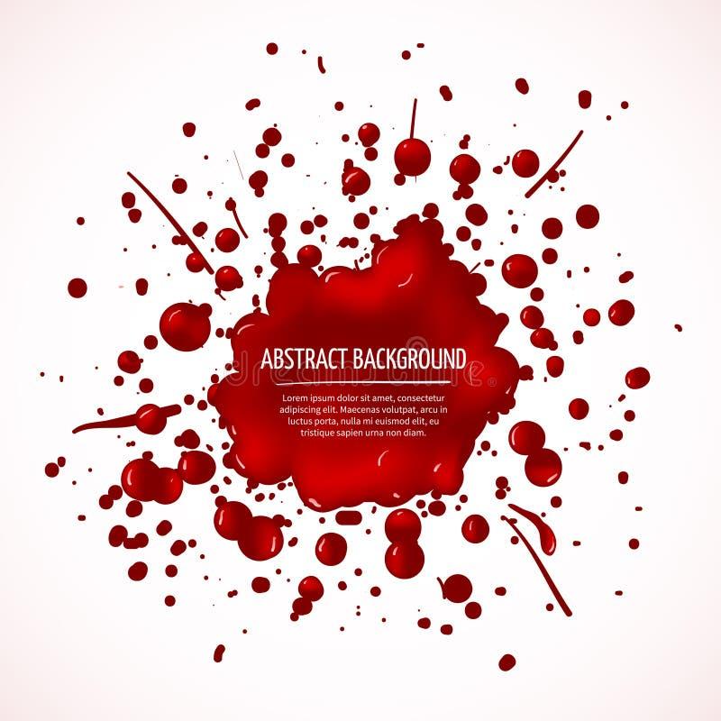Fondo rojo del extracto del vector del chapoteo de la sangre ilustración del vector