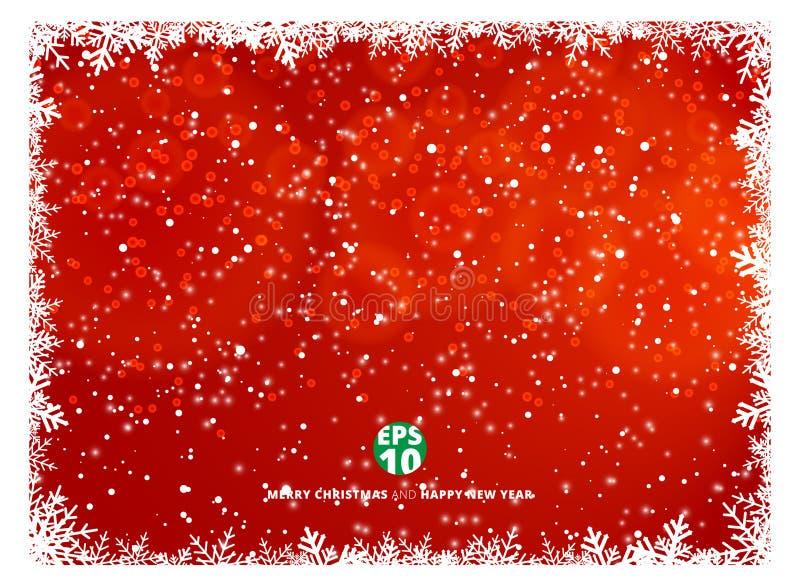 Fondo rojo del invierno del marco del copo de nieve con nieve en HOL de la Navidad ilustración del vector