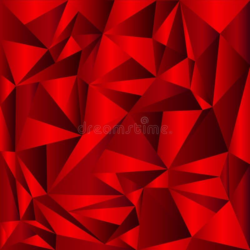 Fondo rojo del mosaico del extracto del vector Ejemplo geométrico creativo en estilo de la papiroflexia con pendiente libre illustration