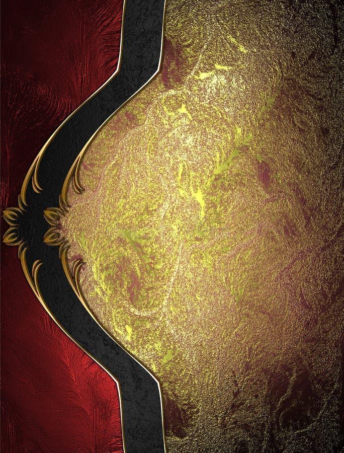 Fondo rojo del oro con la decoración hermosa elegante Plantilla para el diseño copie el espacio para el folleto del anuncio o la  stock de ilustración