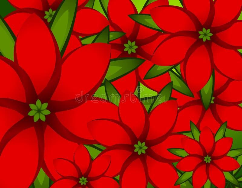 Fondo rojo del Poinsettia de Navidad stock de ilustración
