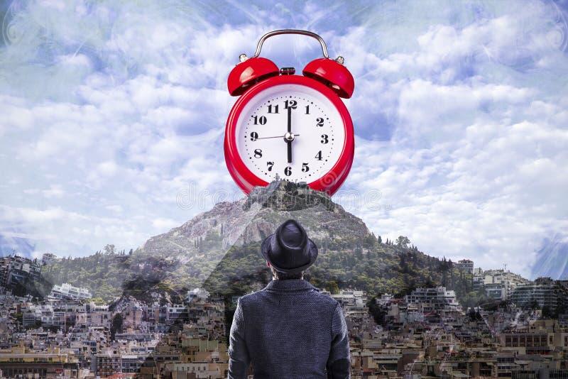 Fondo rojo del reloj imágenes de archivo libres de regalías