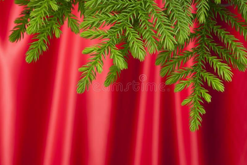 Fondo rojo del satén del árbol de navidad foto de archivo libre de regalías