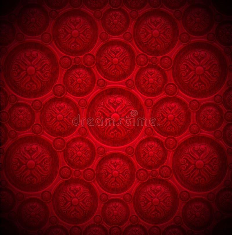 Fondo rojo del terciopelo con el ornamento clásico stock de ilustración