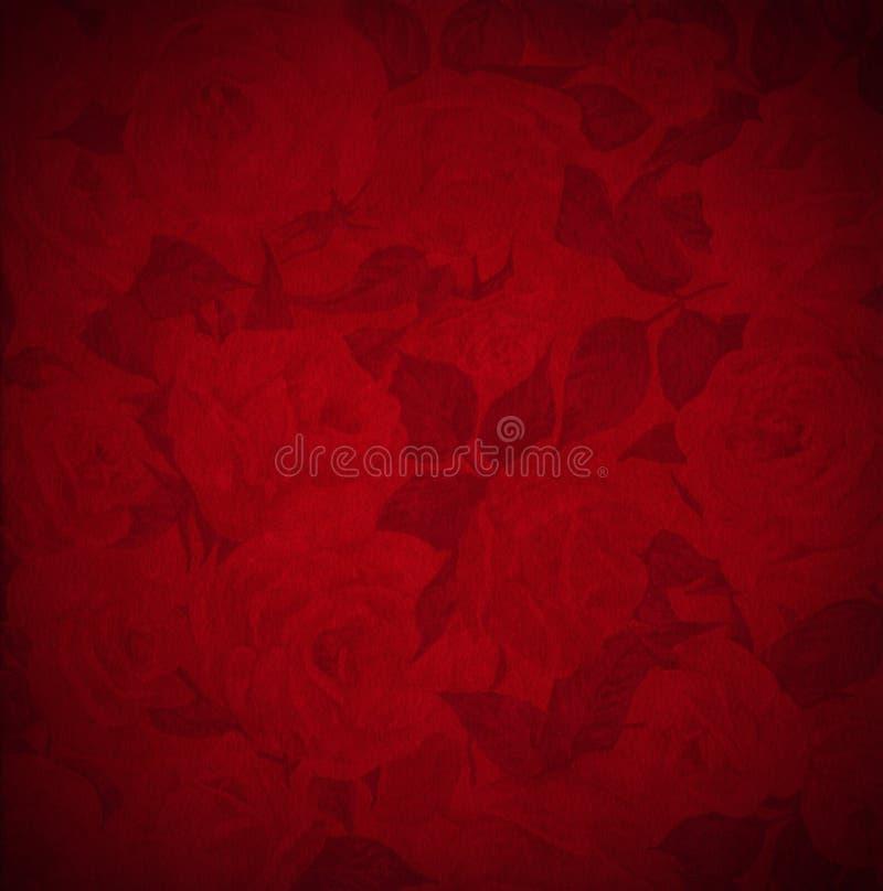 Fondo rojo del terciopelo - flores de las rosas ilustración del vector