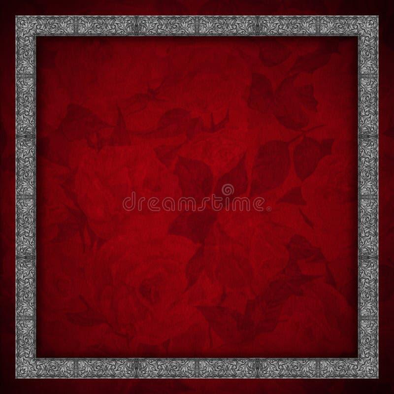Fondo rojo del terciopelo - flores de las rosas libre illustration