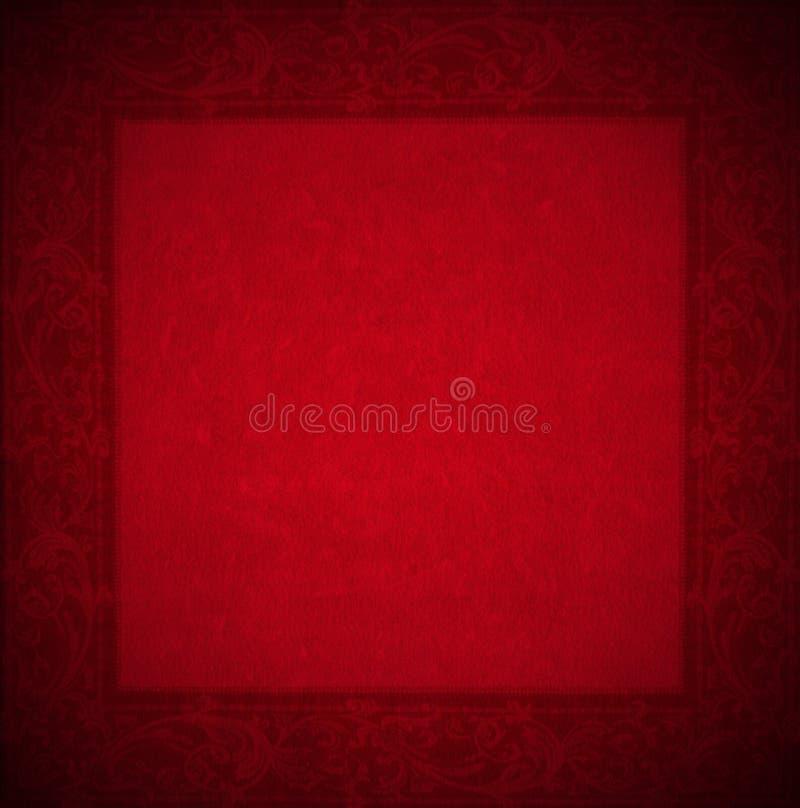 Fondo rojo del terciopelo - marco floral stock de ilustración