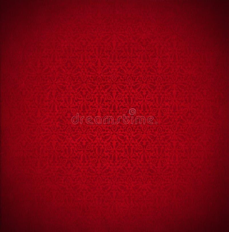 Fondo rojo del terciopelo - textura floral ilustración del vector