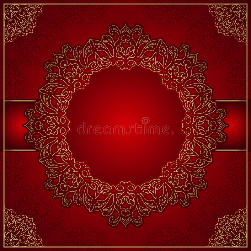 Fondo rojo elegante con el ornamento del oro ilustración del vector
