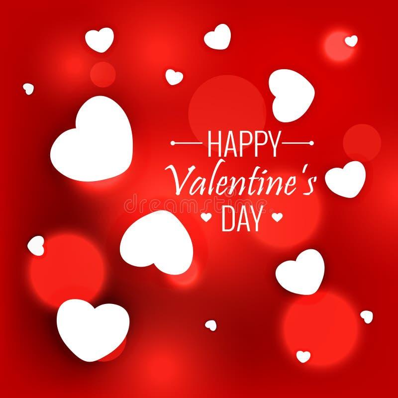 fondo rojo elegante con los corazones blancos para el día de tarjetas del día de San Valentín stock de ilustración