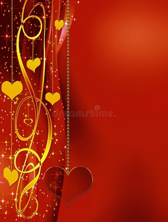 Fondo rojo elegante con los corazones y las estrellas stock de ilustración