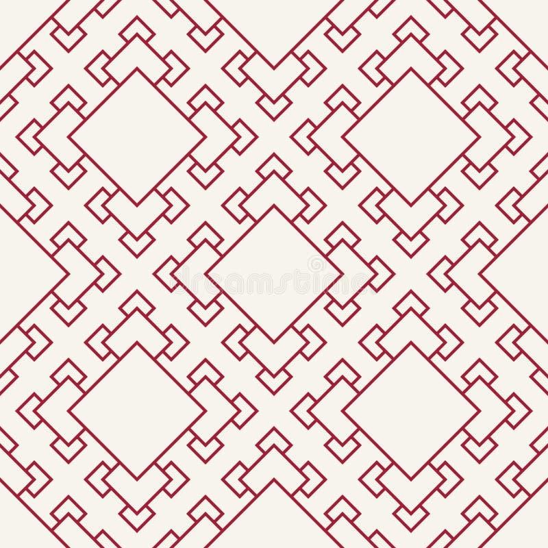 Fondo rojo geométrico abstracto del modelo del cuadrado del arte del deco stock de ilustración