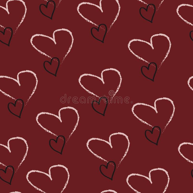 Fondo rojo hermoso con los corazones de blanco y de negro para el día del ` s de la tarjeta del día de San Valentín ilustración del vector