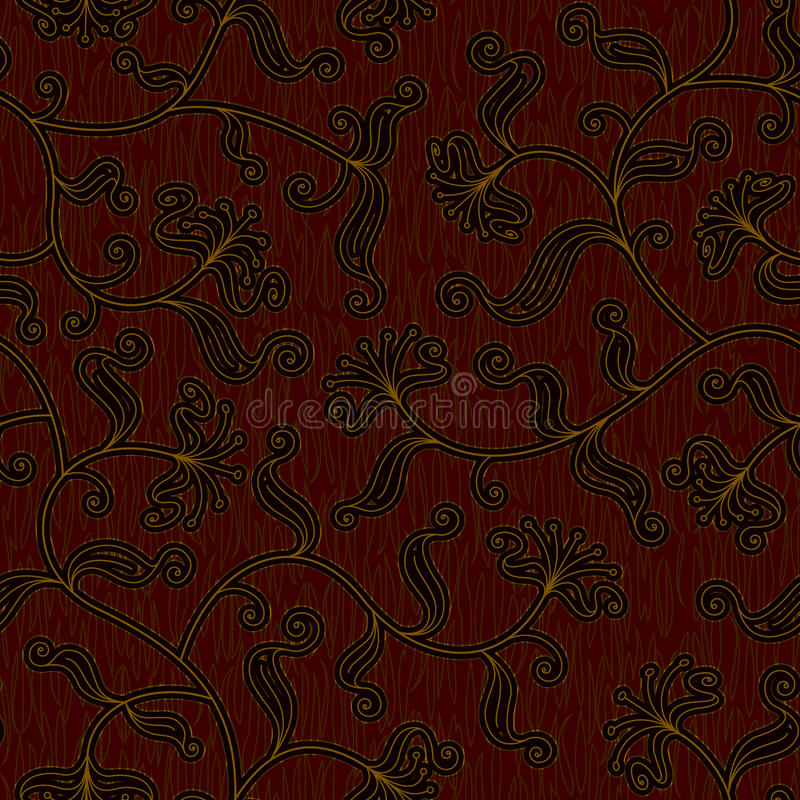 Fondo rojo oscuro floral inconsútil del modelo del damasco libre illustration