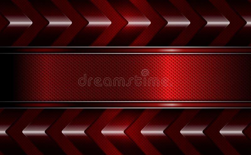 Fondo rojo oscuro geométrico con un marco de la textura y las porciones de flechas libre illustration