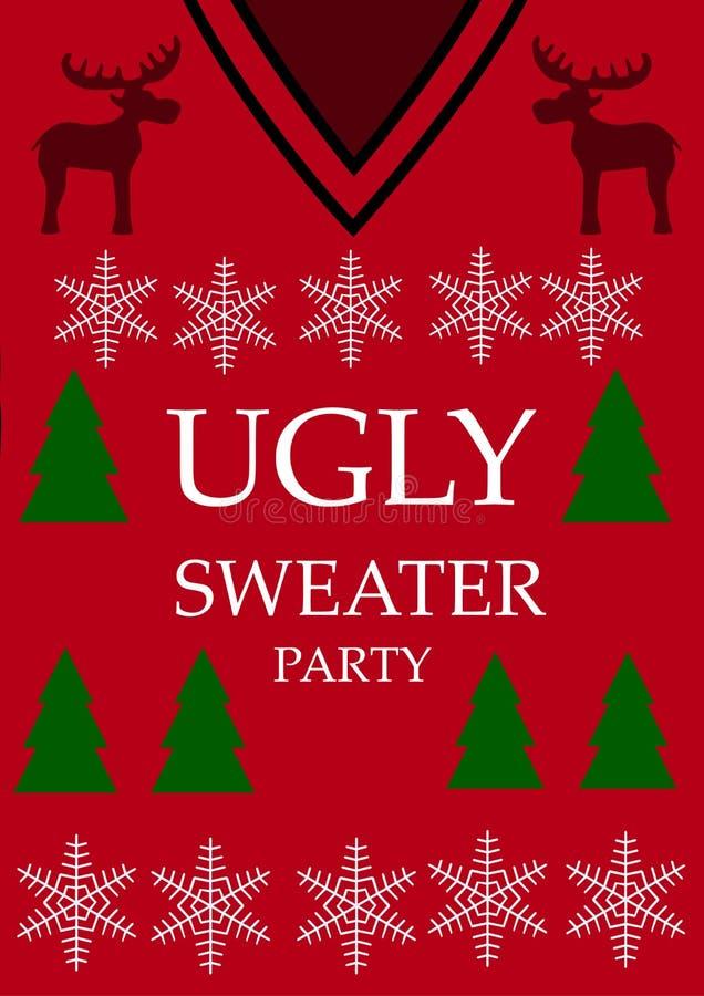 Fondo rojo Partido feo del suéter, vector ilustración del vector