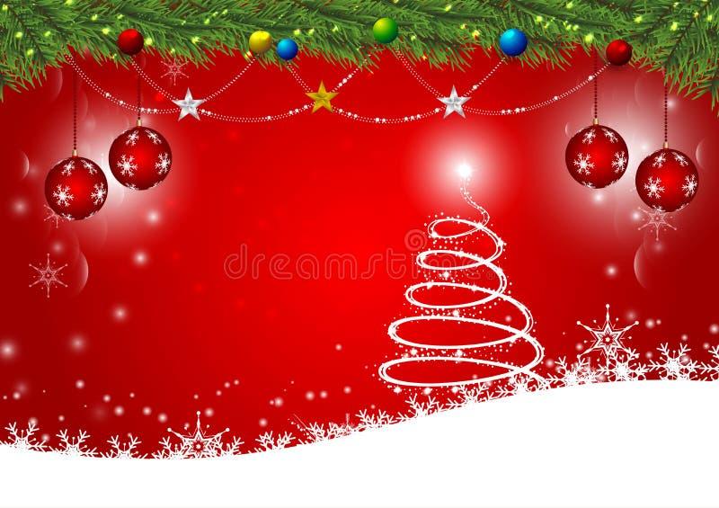 Fondo rojo por la Feliz Año Nuevo y la estación de la Navidad, partido de la celebración de la plantilla del diseño de la tarjeta ilustración del vector