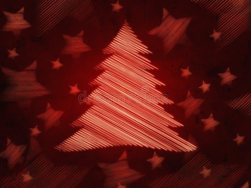 Fondo rojo retro con el árbol de navidad y las estrellas libre illustration