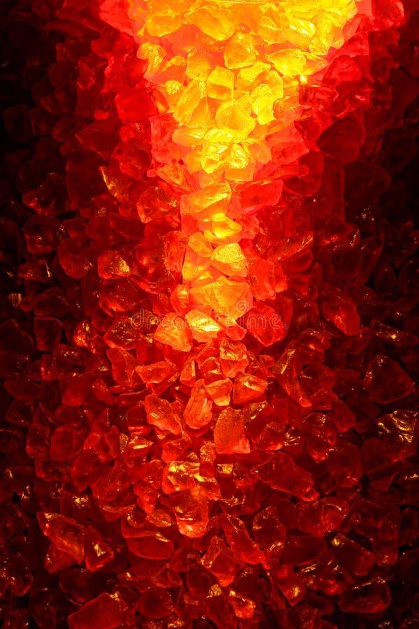 Fondo rojo y amarillo ardiente de cristal de cuarzo fotografía de archivo libre de regalías