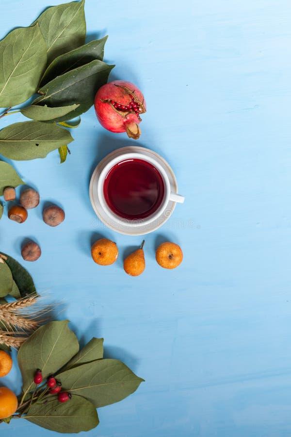 Fondo rojo y amarillo de la fruta de la taza de té de las hojas de otoño fotografía de archivo