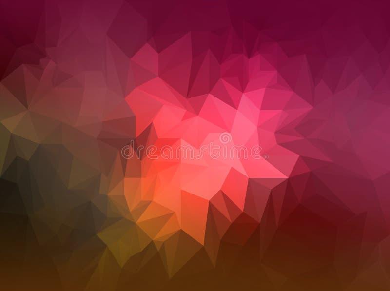 Fondo rojo y anaranjado poligonal - textura polivinílica baja - fondo del polígono stock de ilustración
