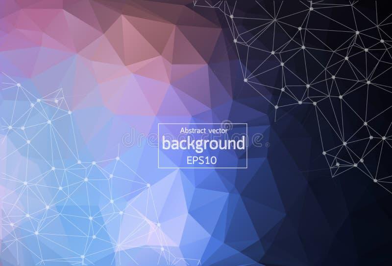 Fondo rojo y azul del espacio poligonal abstracto con los puntos de conexión y líneas | Ejemplo del vector EPS10 libre illustration