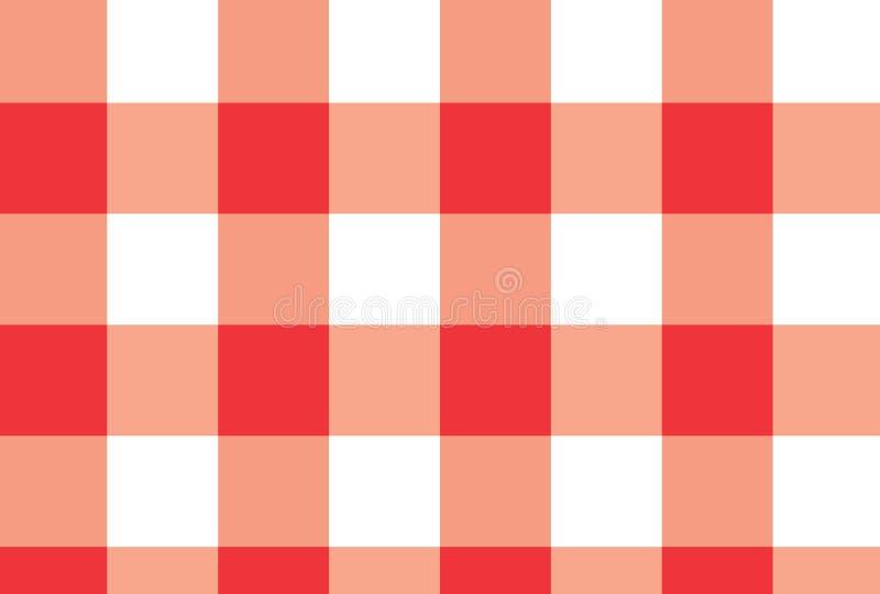 Fondo rojo y blanco del vector de la tela escocesa Ilustración del vector fotos de archivo