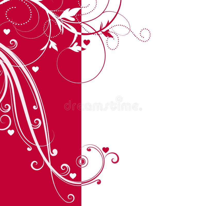 Fondo rojo y blanco elegante con remolinos y pequeños corazones y espacio para su texto ilustración del vector