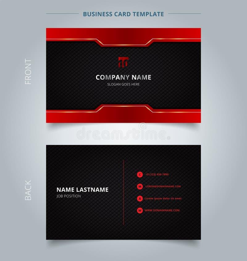 Fondo rojo y negro de la tecnología de la plantilla de Namecard del modelo ilustración del vector