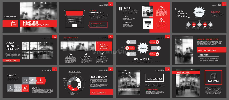 Fondo rojo y negro de las plantillas de la presentación de diapositivas Infograph ilustración del vector