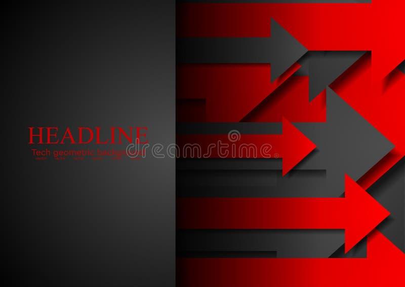 Fondo rojo y negro del extracto de la tecnología con las flechas libre illustration