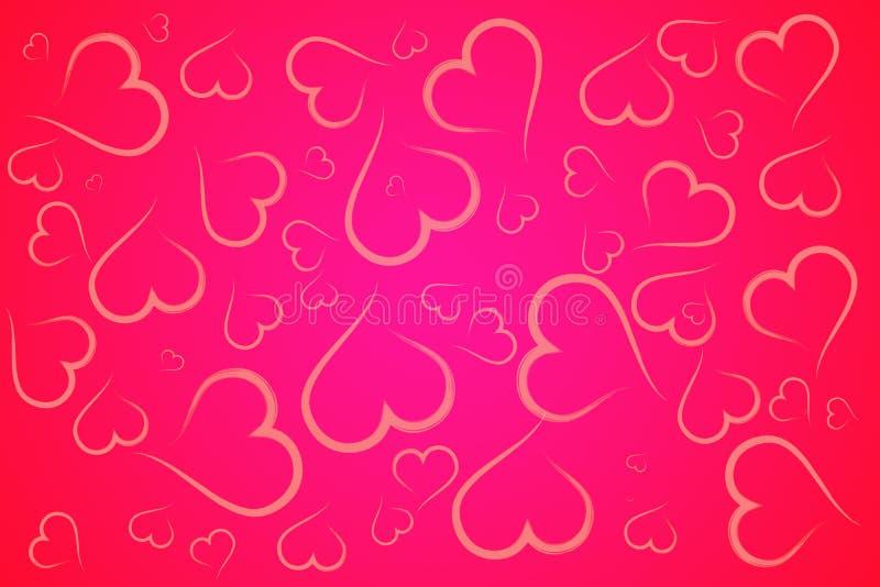 Fondo rojo y rosado del ejemplo de los corazones foto de archivo