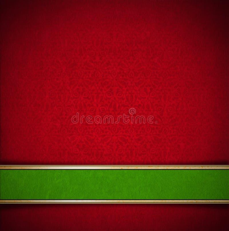Fondo rojo y verde floral de lujo del terciopelo stock de ilustración