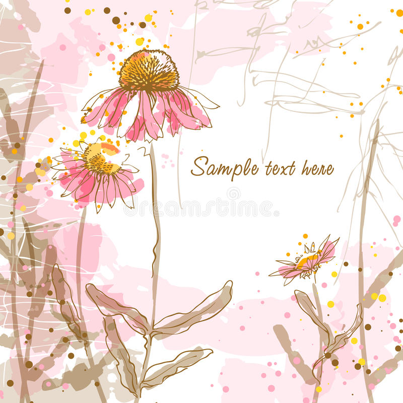 Fondo romántico con echinaceas stock de ilustración