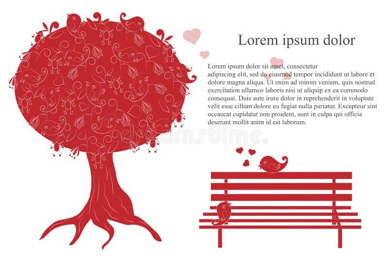 Fondo romántico con el árbol floreciente, la mano cariñosa de los pájaros, del banco, del lorem ipsum, roja y blanca dibujados ilustración del vector