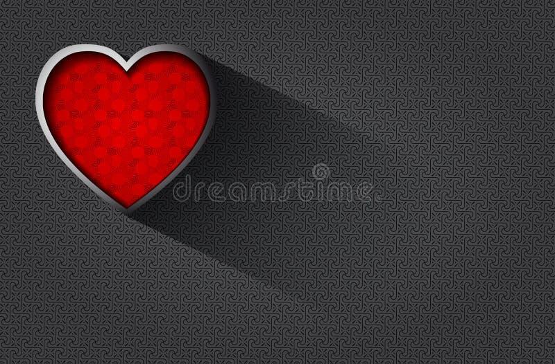 Fondo romántico con el corazón grabado en relieve stock de ilustración