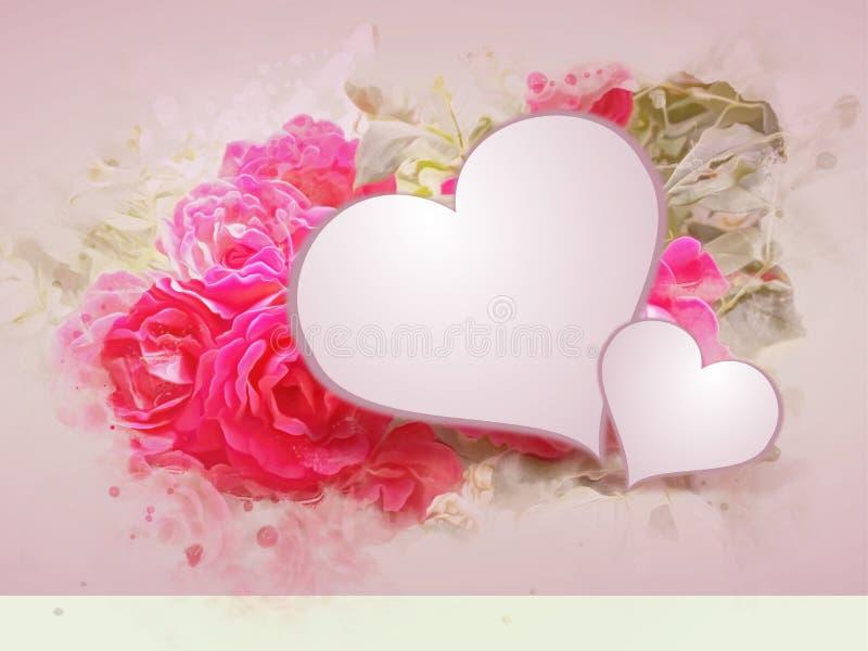 Fondo romántico con las rosas y los corazones ilustración del vector