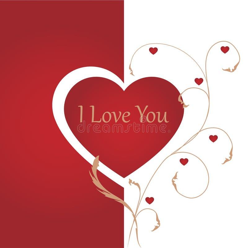 Fondo romántico con te amo la inscripción stock de ilustración