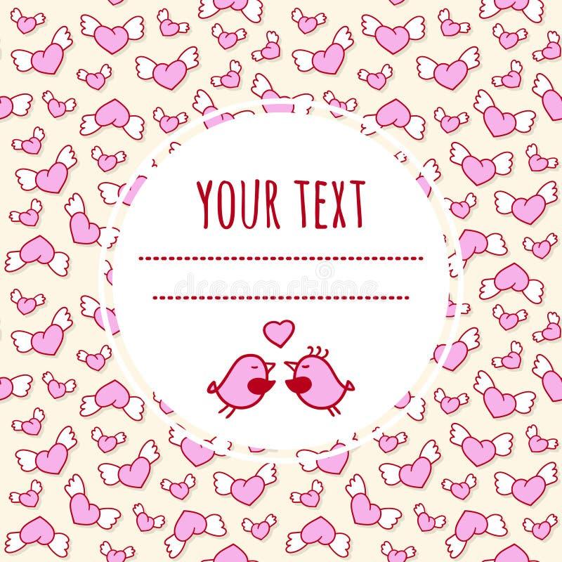 Fondo romántico del amor con los corazones y los pájaros cons alas lindos Tarjeta de felicitación del día del `s de la tarjeta de ilustración del vector