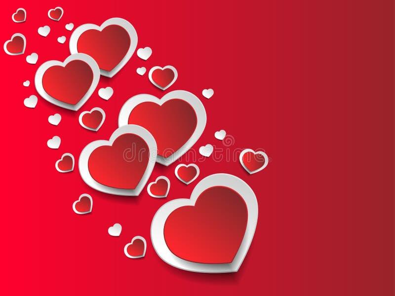 Fondo romántico del corazón aislado en fondo rojo stock de ilustración