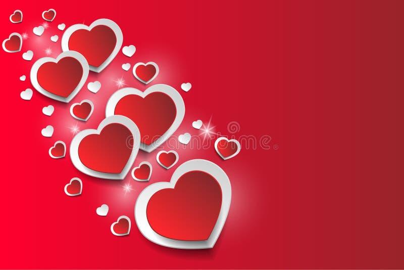 Fondo romántico del corazón, aislado en fondo rojo, estrellas, resplandor stock de ilustración