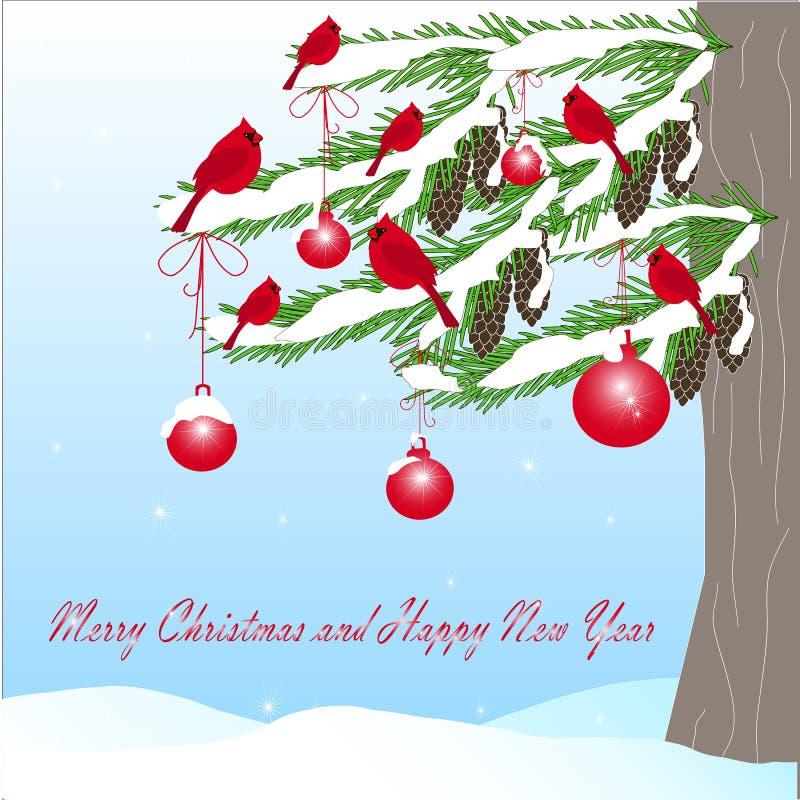 Fondo romántico del invierno con el árbol de abeto verde, cardenal rojo, cono del marrón de la bola, Feliz Año Nuevo ilustración del vector