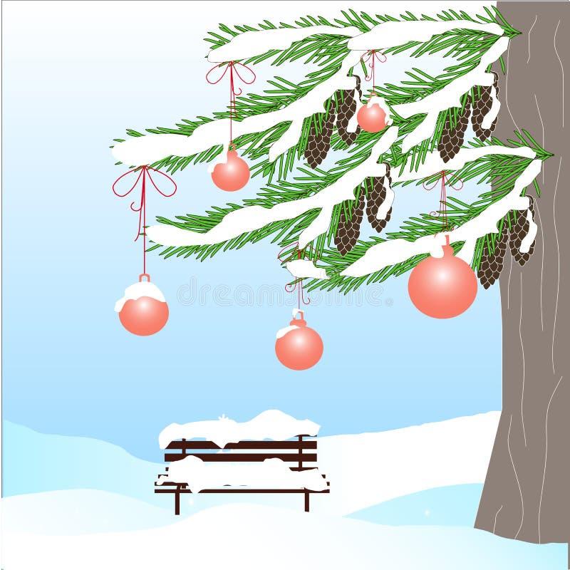 Fondo romántico del invierno con el árbol de abeto verde, cono marrón, banco, bola roja libre illustration