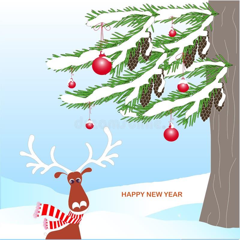Fondo romántico del invierno con el árbol de abeto verde, cono marrón, ciervo de las historietas, bola roja ilustración del vector