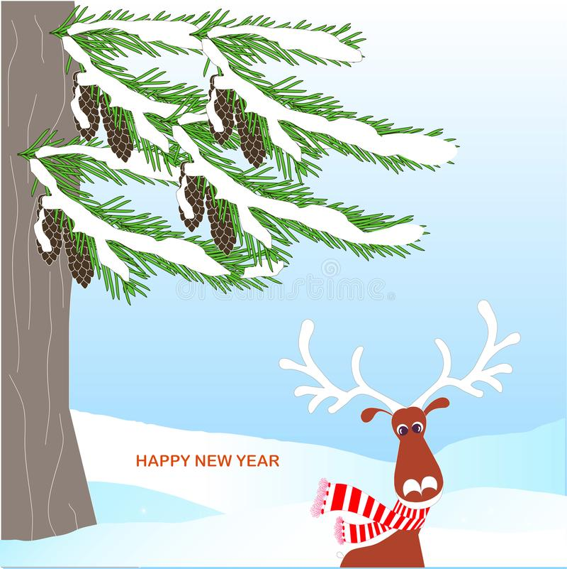 Fondo romántico del invierno con el árbol de abeto verde, cono marrón, ciervo de las historietas, bola roja, en blanco libre illustration