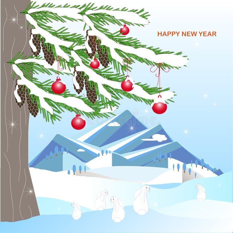 Fondo romántico del invierno con el árbol de abeto verde, cono marrón, montaña, bola roja conejo, en la nieve blanca stock de ilustración