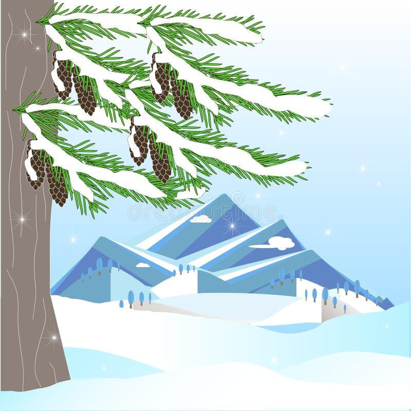 Fondo romántico del invierno con el árbol de abeto verde, cono marrón, montaña, en la nieve blanca en el cielo azul ilustración del vector