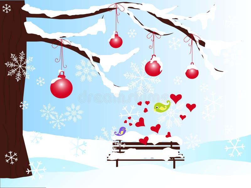 Fondo romántico del invierno con el árbol de navidad, banco, bolas rojas en los pájaros de la nieve, de los corazones, violetas y ilustración del vector