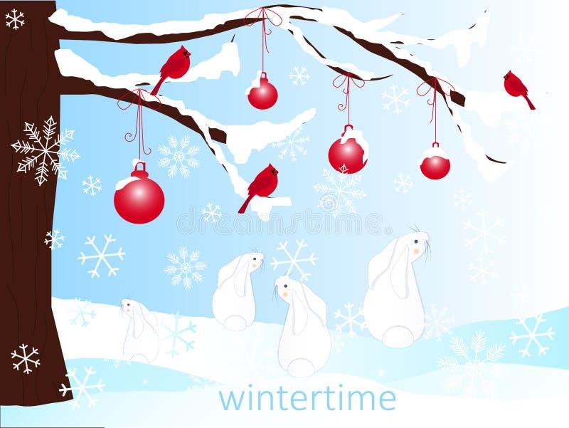 Fondo romántico del invierno con el árbol de navidad marrón, liebres de la historieta, bolas rojas en la nieve blanca, invierno stock de ilustración